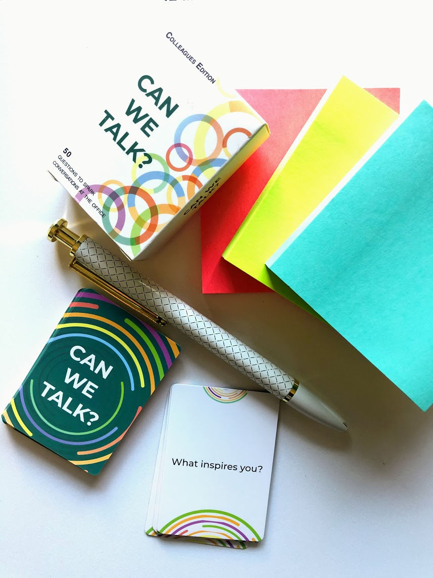 Can We Talk Cards with a pen and Post-It Notes.